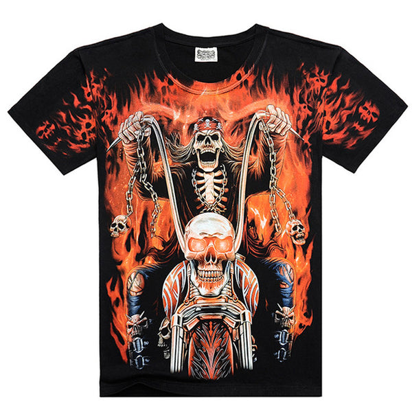 Men Casual 3D skull Cotton Men T shirt