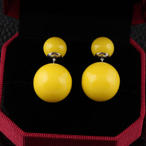 Double Bead Stud Earrings