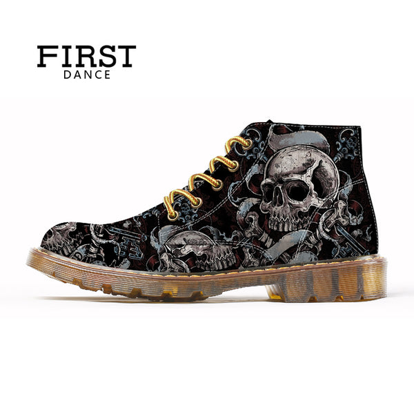 Spring Boot Fashion Men Skull Dr Martins Shoes
