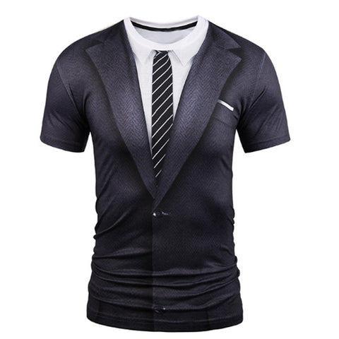 3D Fake Two Pieces O-Neck Casual Soft Compression Men Shirt