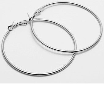 Big Silver Simple Hoop Earrings
