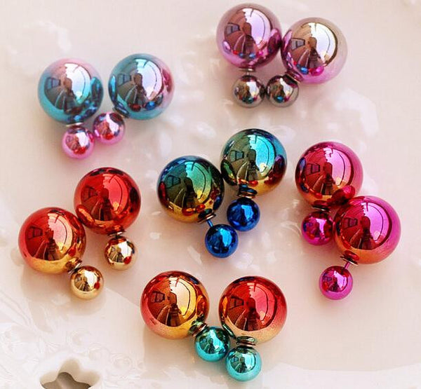 Multi-Color Glossy Double Ball Earrings