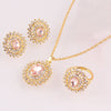 Gold Plated Crystal Sunflower Jewelry Set