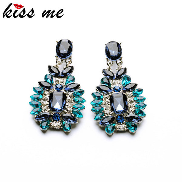 Blue Plant Tribal Dangling Earrings
