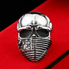 American Flag Stainless Steel Skull Ring