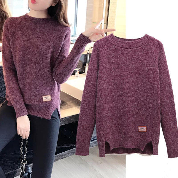 Pullovers Long Sleeve Solid Casual Knitted Sweater