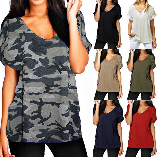 Casual Loose V-Neck Women's T-Shirt
