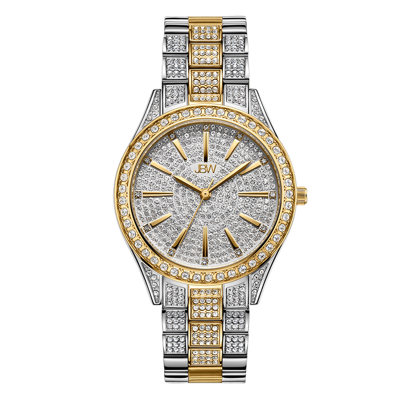 1 Jbw Cristal 34 J6383d Twotone Gold Stainless Steel Diamond Watch Front