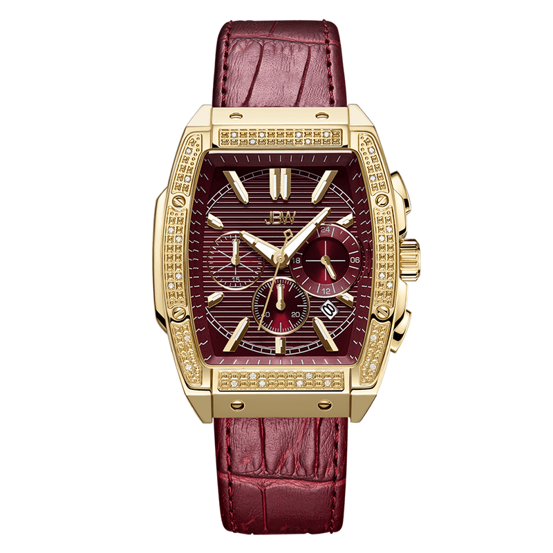 1 Jbw Echelon J6379b Gold Red Leather Diamond Watch Front