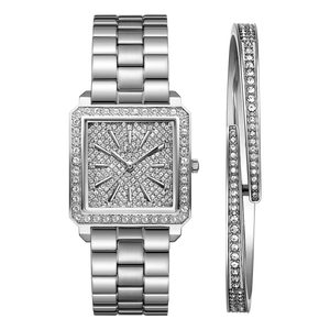 2 Jbw Cristal Square 28 J6387c Stainless Steel Diamond Watch Bracelet Set C Front 2