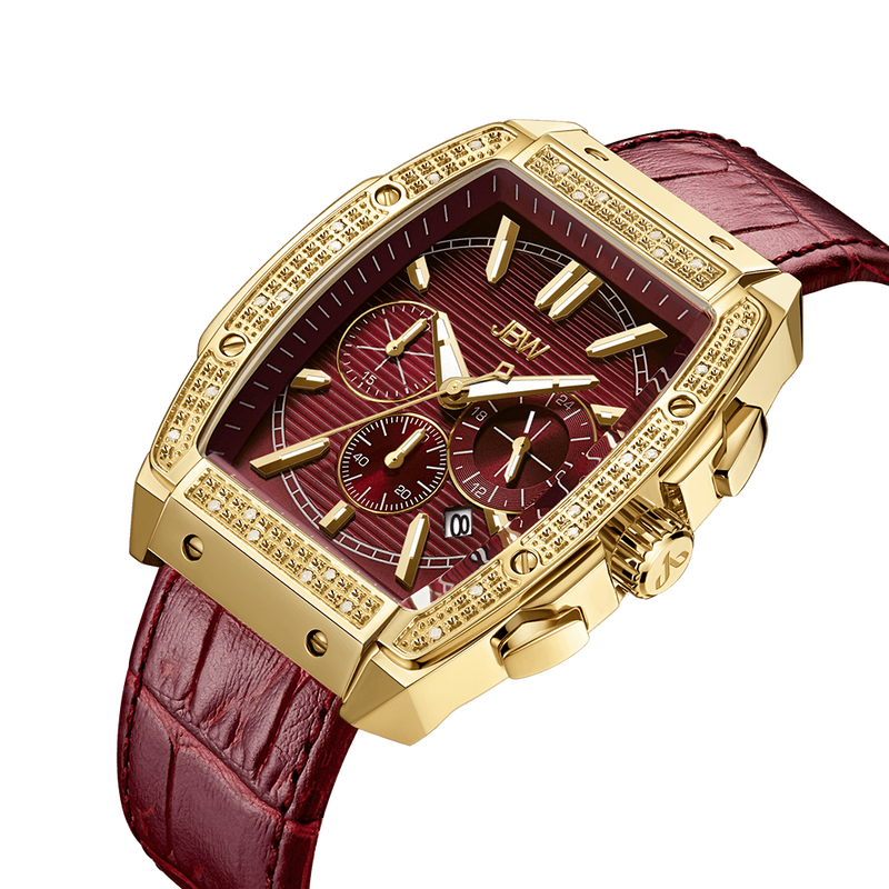 2 Jbw Echelon J6379b Gold Red Leather Diamond Watch Angle