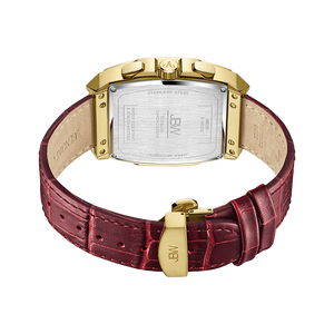 3 Jbw Echelon J6379b Gold Red Leather Diamond Watch Back