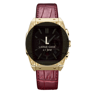7 Jbw Echelon J6379b Gold Red Leather Diamond Watch Size Fit