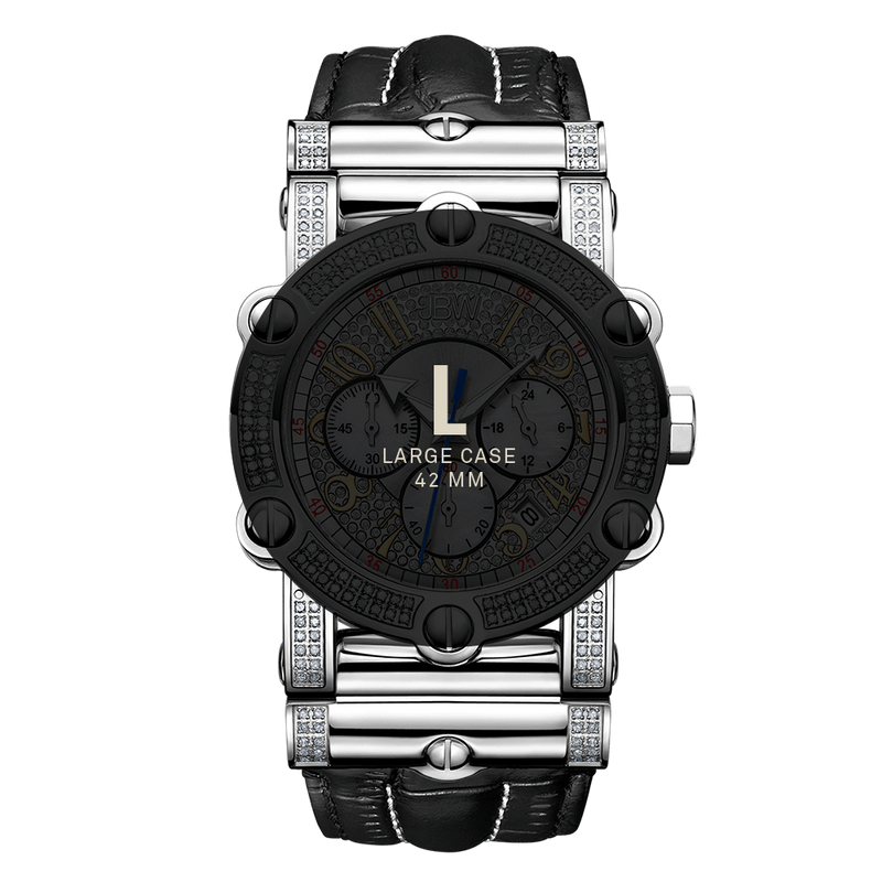 7 Jbw Phantom Jb 6215 10a Stainless Steel Black Leather Diamond Watch Size Fit_b0d6956a 3d3d 4446 8681 C856fd286fa4