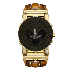 7 Jbw Phantom Jb 6215 10c Gold Brown Leather Diamond Watch Size Fit_477017a9 Cd4c 45fc 810a 34083a6ea29c
