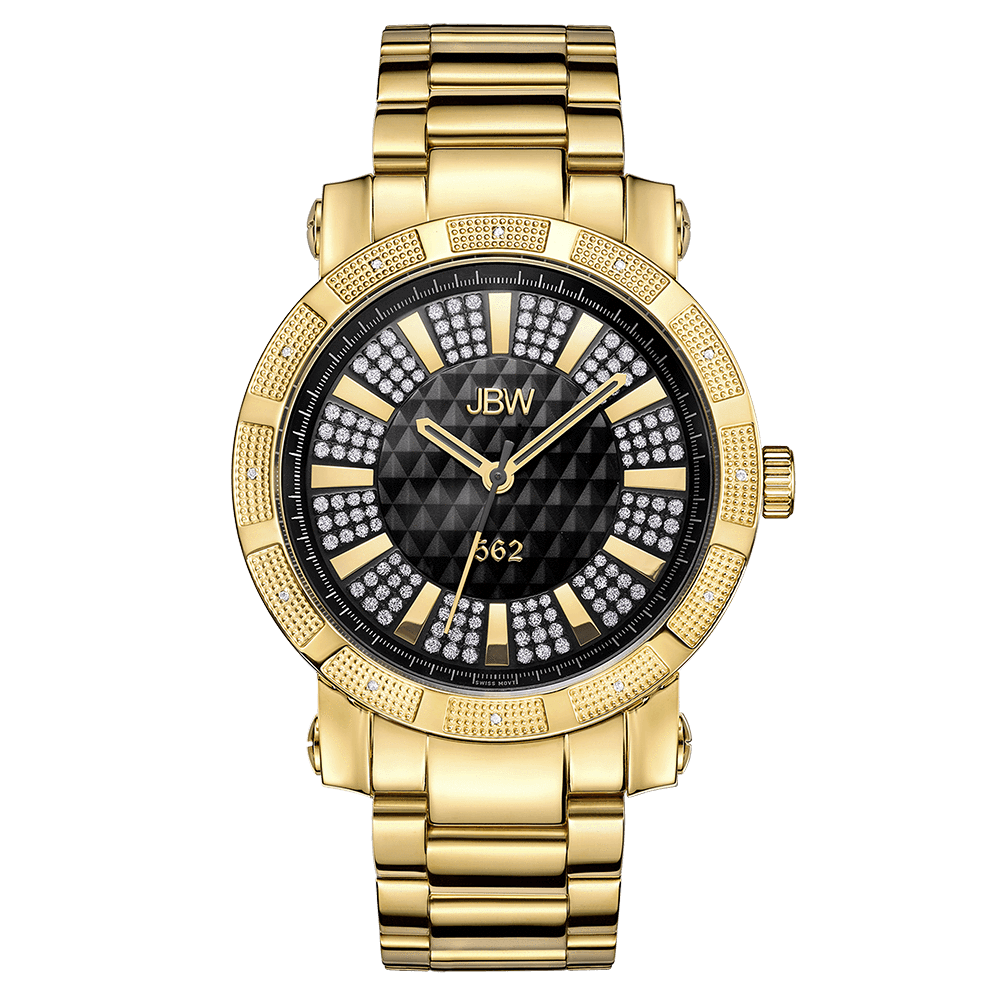 bezel watches diamond watch gold band geneve solid l dial and leather