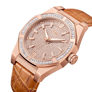 Jbw Apollo J6350d Rose Gold Brown Leather Diamond Watch Angle