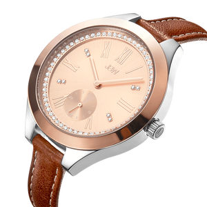 Jbw Aria J6309d Two Tone Stainless Steel Rosegold Brown Leather Diamond Watch Angle_81a57451 89ad 4832 84a4 8f31adccd2f8