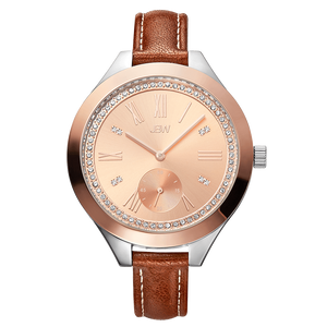 Jbw Aria J6309d Two Tone Stainless Steel Rosegold Brown Leather Diamond Watch Front_9e4ce816 C692 4c4d 8692 799aeffeb51f