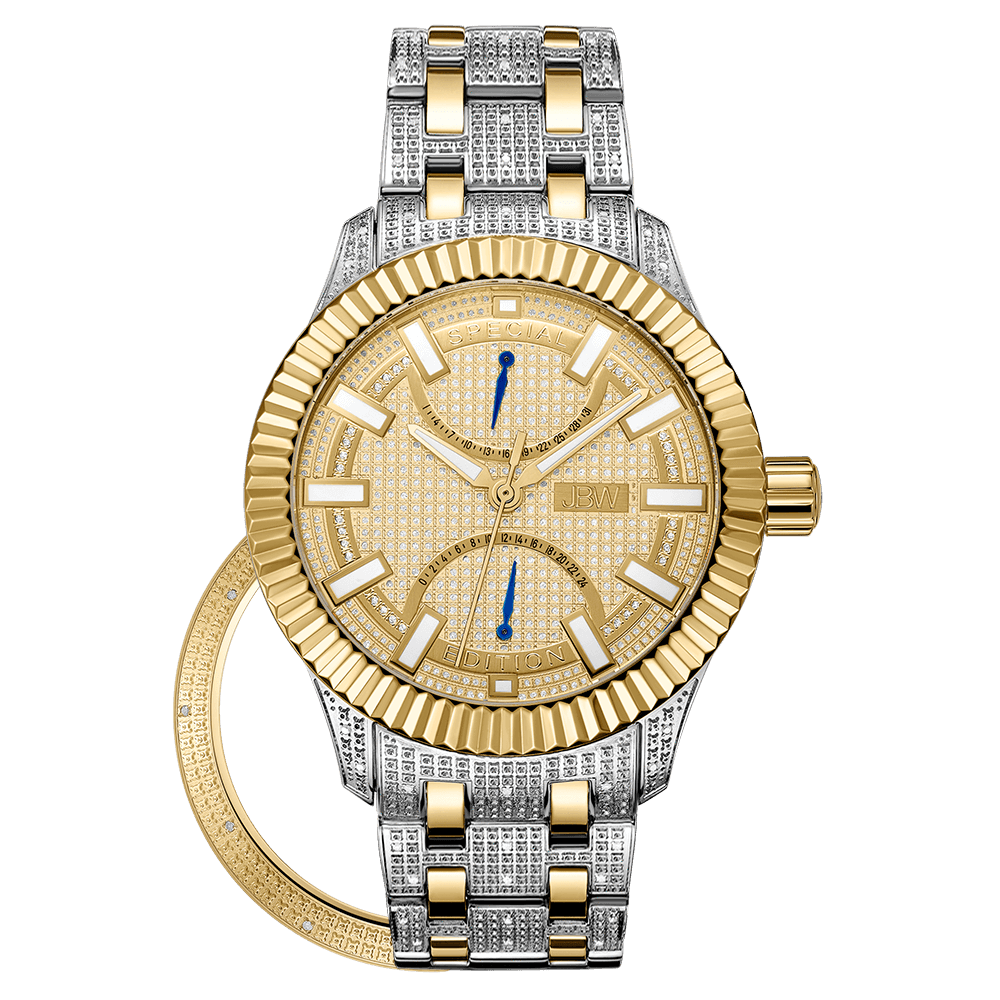 crowne edition watches tone s gold jbw diamond set two special products men watch stainless steel