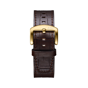 Jbw J1020 26 B Dark Brown Italian Genuine Calf Leather Gold Buckle Diamond Watch Front