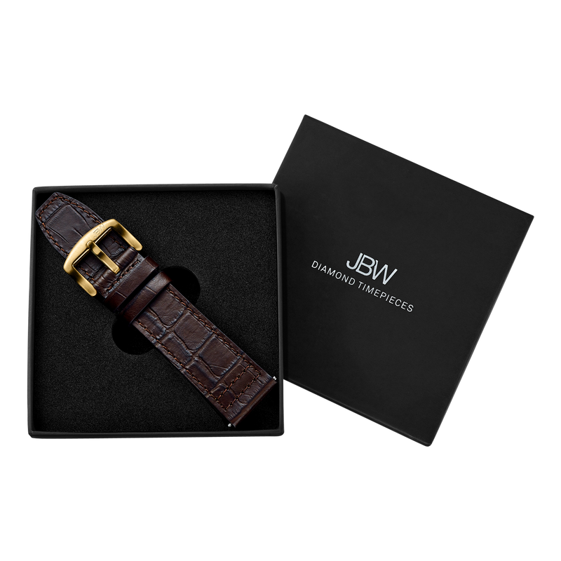 Jbw J1020 26 B Dark Brown Italian Genuine Calf Leather Gold Buckle Diamond Watch Packaging