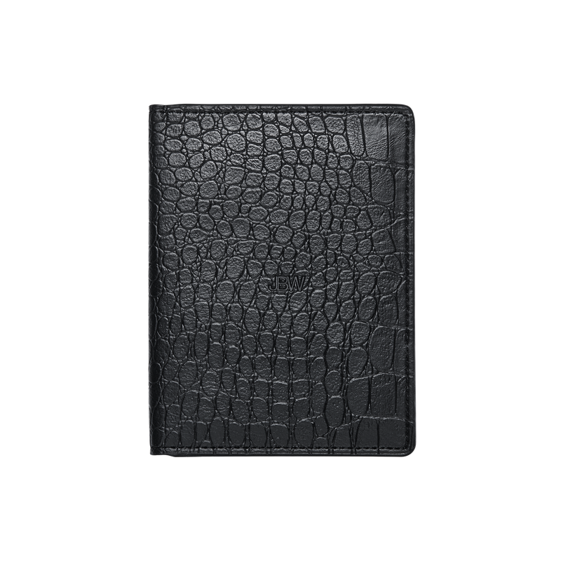 Jbw J1028 Croc Passport Black Leather Case Front