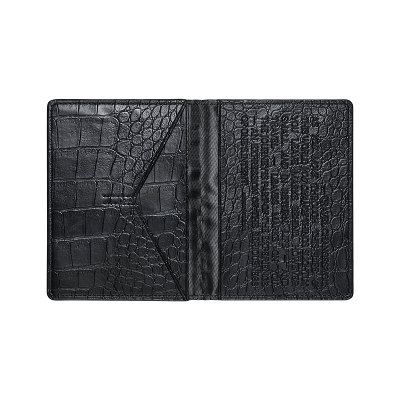 Jbw J1028 Croc Passport Black Leather Case Open