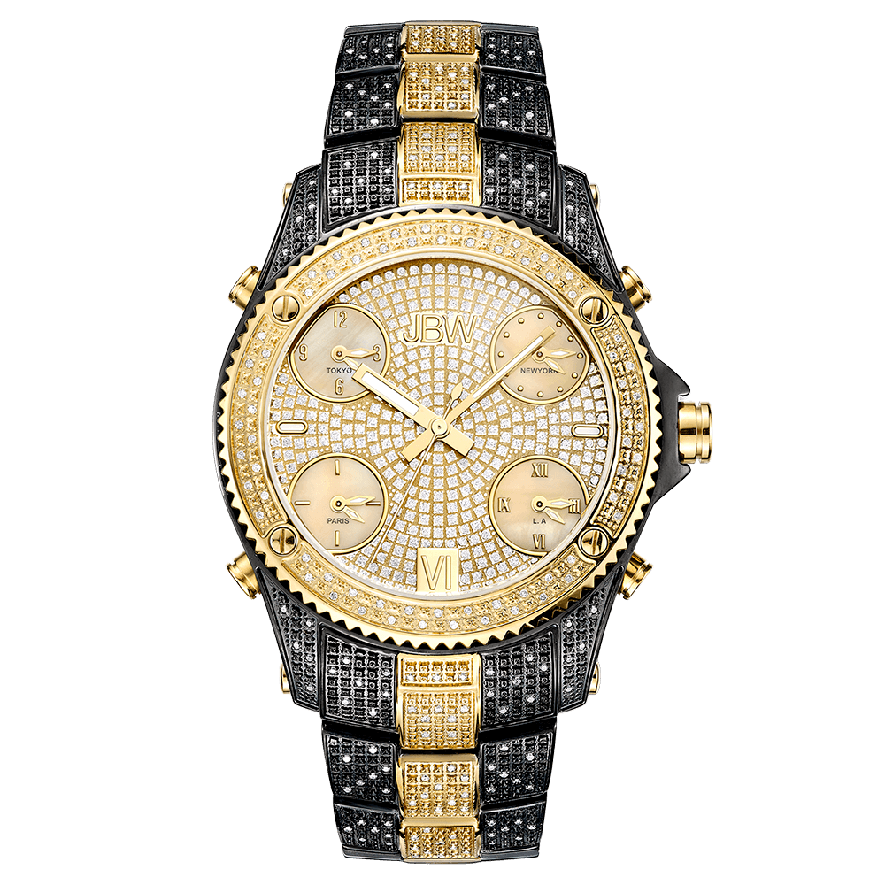 jbw-jet-setter-jb-6213-d-two-tone-black-ion-gold-diamond-watch-front