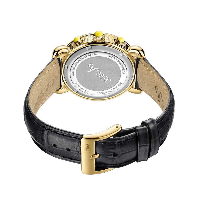 Jbw Victory Jb 6210l A Gold Black Leather Diamond Watch Back