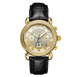 Jbw Victory Jb 6210l A Gold Black Leather Diamond Watch Front