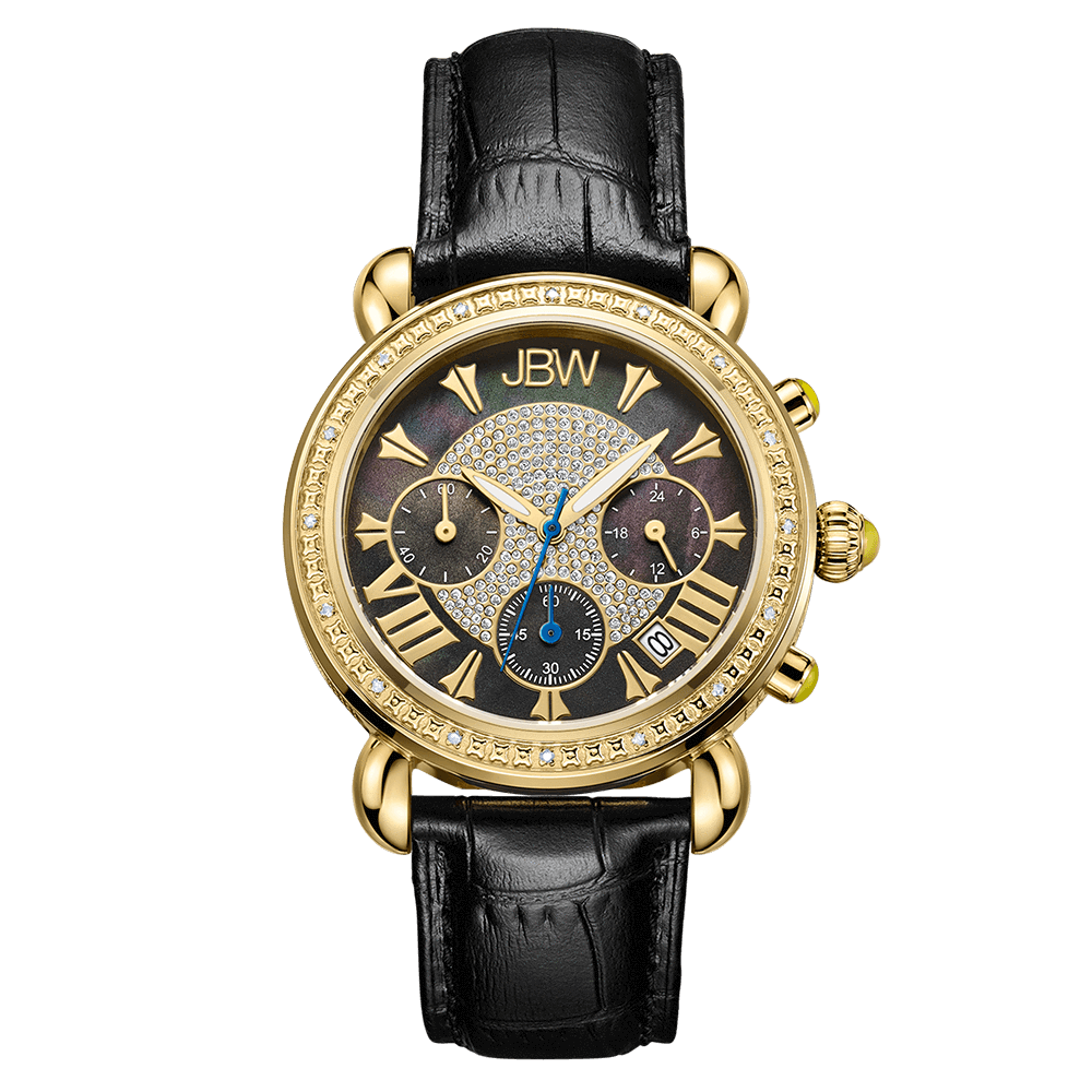 jbw-victory-jb-6210l-f-gold-black-leather-diamond-watch-front