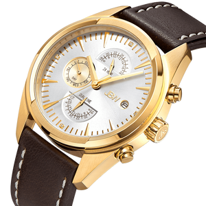 Jbw Woodall J6300d Gold Brown Leather Diamond Watch Angle