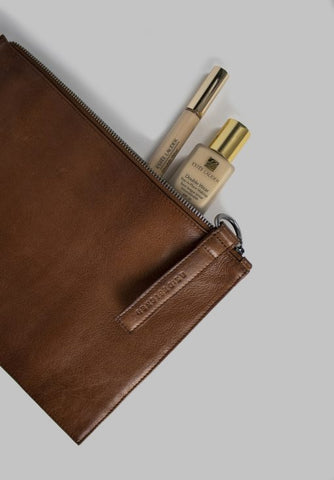 Audette leðurclutch, walnut