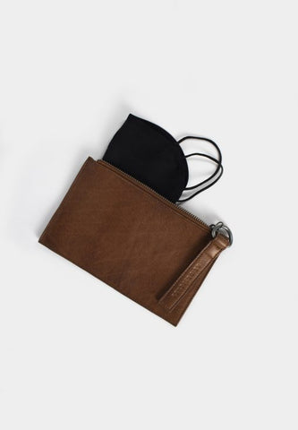 Elodie leðurclutch, walnut