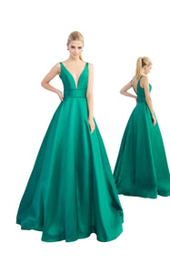 Mac Duggal green off shoulder grown