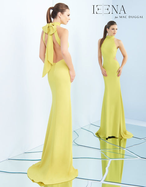 Mac Duggal Chartreuse Cap Grown Style #25403