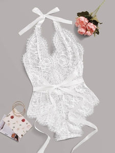 Floral lace sheer teddy Bodysuit without lingerie Set
