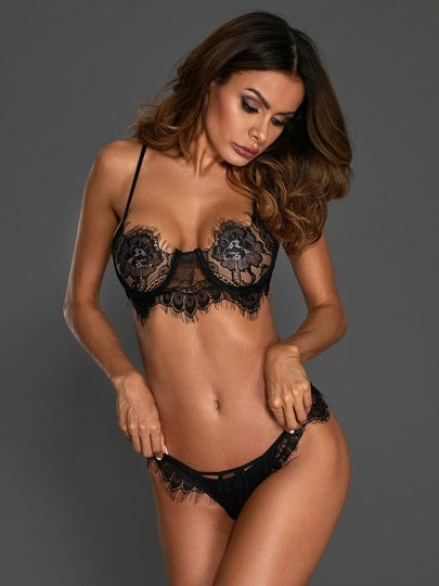 Floral Lace Cut-Out Lingerie Set