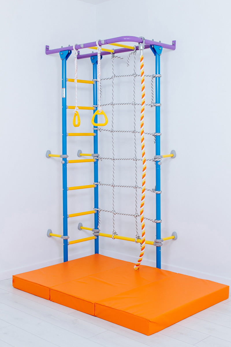 Wallbarz Jungle Corner - Indoor Climbing Activity Sports Center for Kids 3 to 12 with Monkey Bars, Gymnastics Rings, a Climbing Rope, a Climbing Ladde