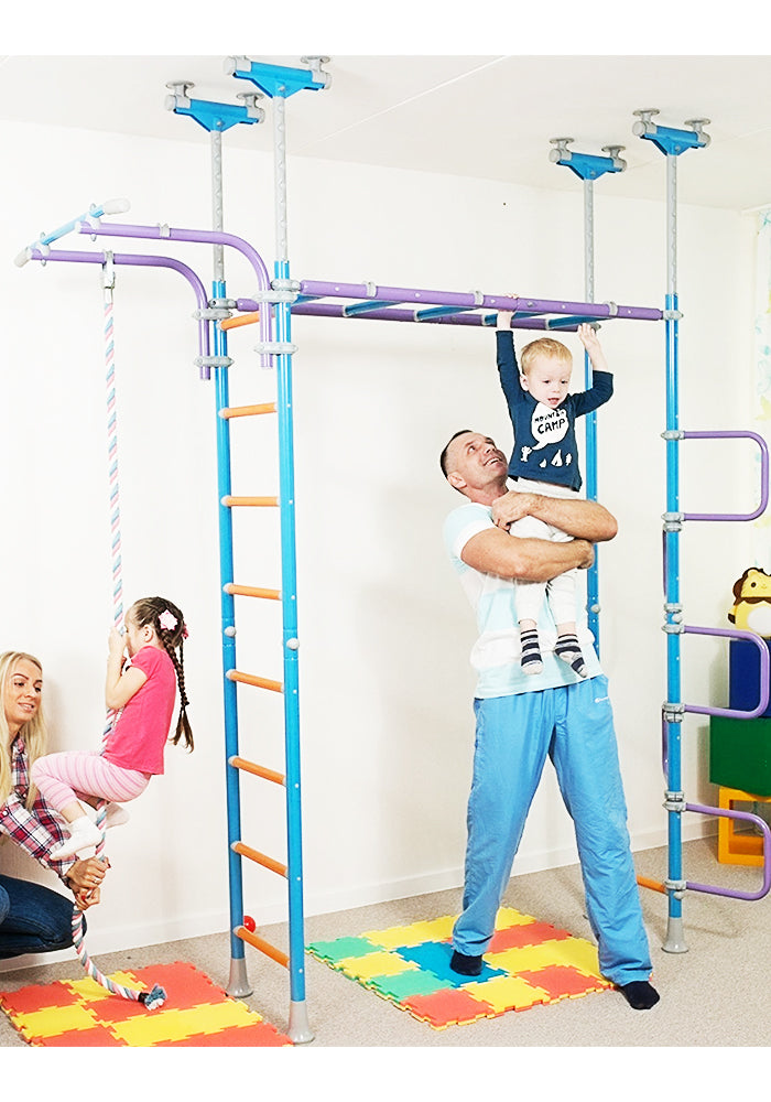 Kids Playground Play Set for Floor & Ceiling / Indoor Training Gym Sport Set with Accessories Equipment: Climber, Rope Ladder, Swing, Gymnastic Rings, Climbing Rope / WALLBARZ Jungle Dome