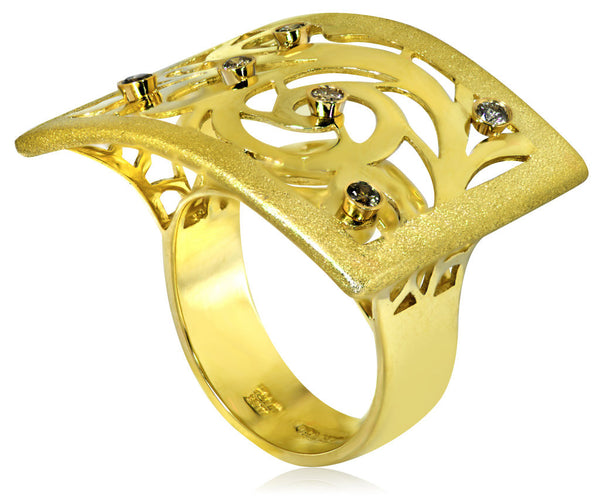 ALEX SOLDIER Diamond Gold Ornament Ring Handmade in NYC