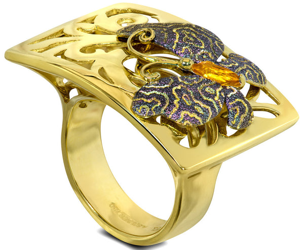 ALEX SOLDIER Citrine Gold Butterfly Ring by Alex Soldier. Handmade in NYC