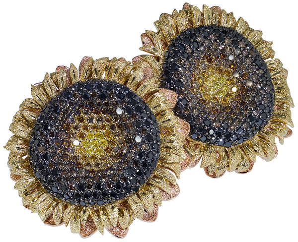 ALEX SOLDIER Diamond Gold Sunflower Earrings Handmade in NYC