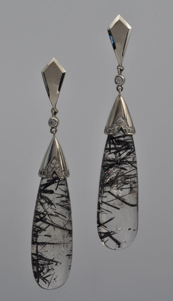 KENN KUSHNER DESIGNS - 18K WHITE GOLD WITH DIAMOND AND RUTILATED QUARTZ EARRINGS - Luxe Route | Fine Goods & Services - Luxury Ecommerce