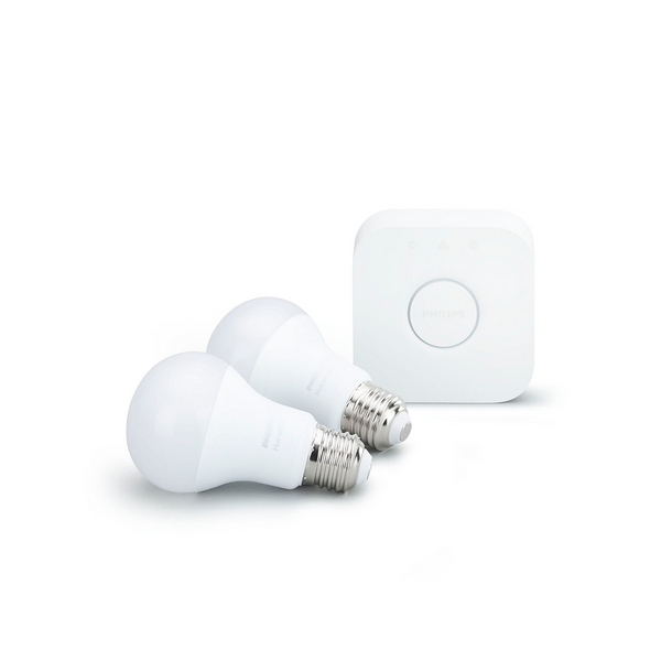 Hue White A19 LED 60W Equivalent Dimmable Smart Wireless Lighting Starter Kit
