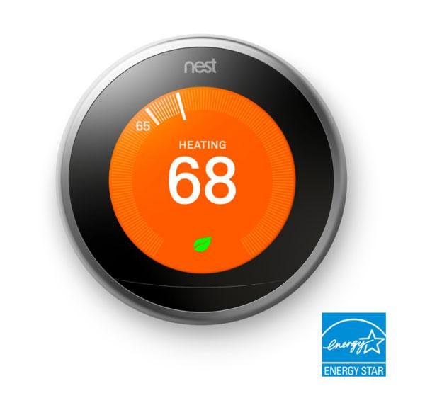 3rd Gen Nest Learning Thermostat - Stainless Steel + Indoor Security Camera image 3834514440215