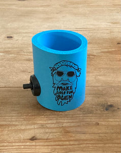 Big D Collection - Blue FUNtastic  foam can cooler w/ Party Starter Shotgun button
