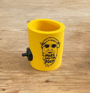 Big D Collection | Yellow FUNtastic  foam can cooler w/ Party Starter Shotgun button