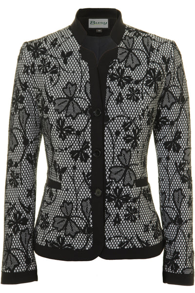 Busy Clothing Womens Black And White Flowers Jacket Busy